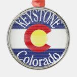 Keystone Colorado circle flag Christmas Ornaments