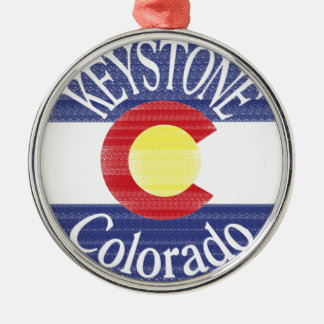 Keystone Colorado circle flag Round Metal Christmas Ornament