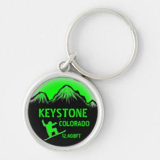 Keystone Colorado green snowboard art keychain