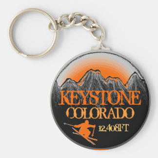 Keystone Colorado orange ski art keychain