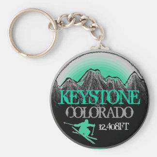Keystone Colorado teal ski art keychain