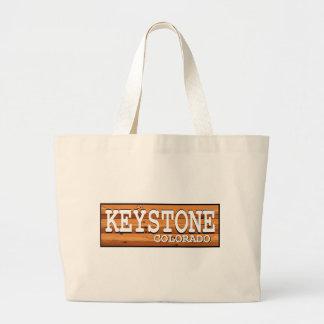 Keystone Colorado wooden log sign Tote Bags