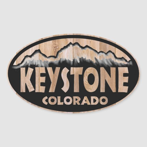 Keystone Colorado wooden oval stickers