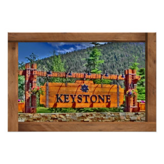 Keystone Colorado wooden sign poster print