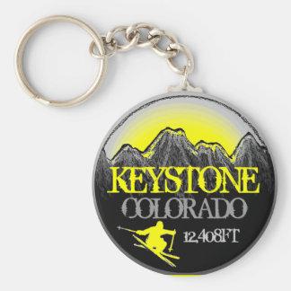 Keystone Colorado yellow ski art keychain
