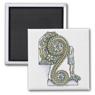 Keystone decoration from ancient Roman Arch of 2 Inch Square Magnet