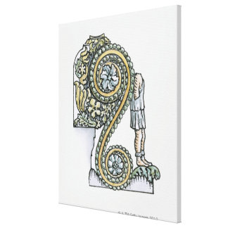 Keystone decoration from ancient Roman Arch of Canvas Print