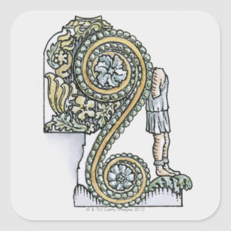 Keystone decoration from ancient Roman Arch of Square Sticker