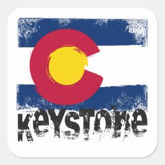 Keystone Grunge Flag Square Sticker