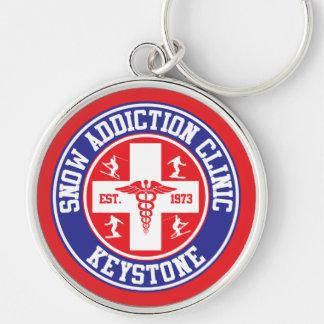 Keystone Snow Addiction Clinic Silver-Colored Round Keychain