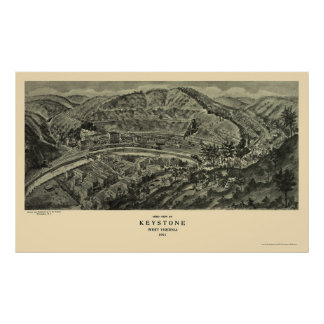 Keystone, WV Panoramic Map - 1911 Poster