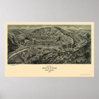 Keystone, WV Panoramic Map - 1911 Print
