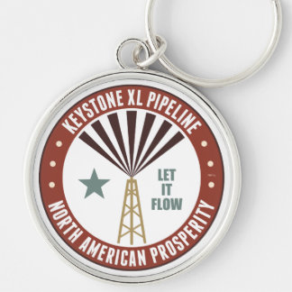 Keystone XL Pipeline Silver-Colored Round Keychain