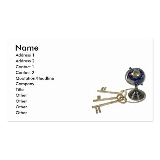 KeysToWorld082510, Name, Address 1, Address 2, ... Double-Sided Standard Business Cards (Pack Of 100)