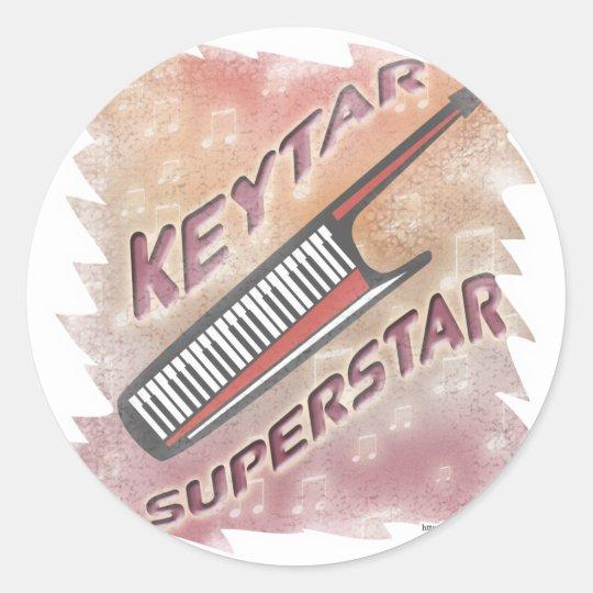 Keytar Superstar Classic Round Sticker