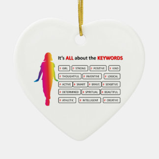 Keywords Girl Double-Sided Heart Ceramic Christmas Ornament