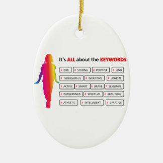 Keywords Girl Double-Sided Oval Ceramic Christmas Ornament