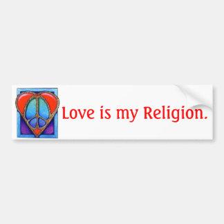 kgb073_450, amor es mi religión pegatina para auto