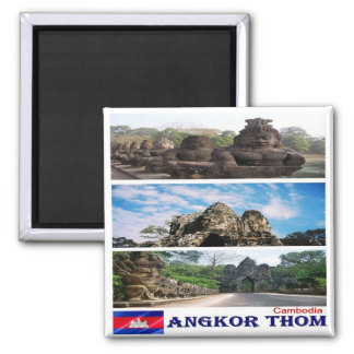 KH - Cambodia - Angkor Thom - Mosaic - Collage 2 Inch Square Magnet