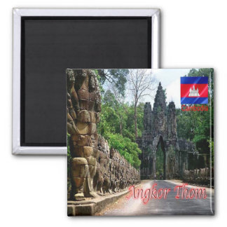 KH - Cambodia - Angkor Thom - South Gate 2 Inch Square Magnet