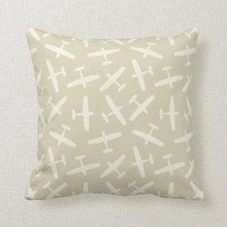 Khaki Aircraft & Vintage Stripes Pattern Throw Pillow