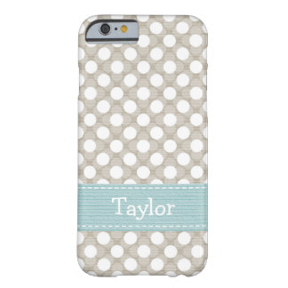 Khaki and Blue Polka Dot Barely There iPhone 6 Case