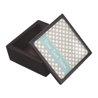 Khaki and Blue Polka Dot Gift Box
