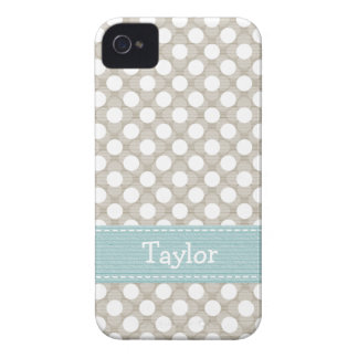 Khaki and Blue Polka Dot iPhone 4 4s Case Cover