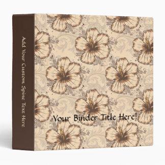 Khaki and Brown Hibiscus Flower 3 Ring Binder