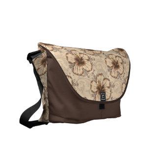Khaki and Brown Hibiscus Flower Messenger Bag