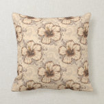 Khaki and Brown Hibiscus Flower Throw Pillow