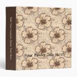 Khaki and Brown Hibiscus Flower Vinyl Binders