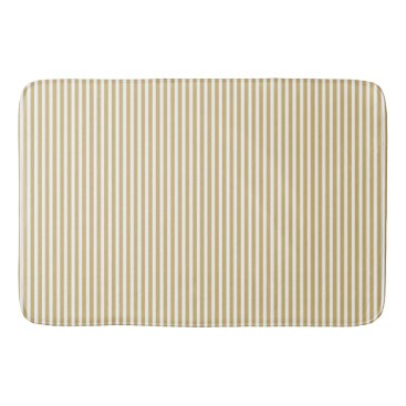 Beach Themed Khaki Beige and White Cabana Stripes Bath Mat