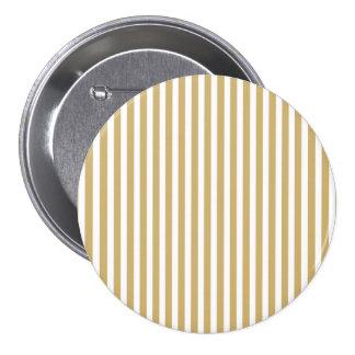 Khaki Beige and White Cabana Stripes 3 Inch Round Button