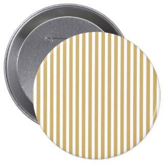 Khaki Beige and White Cabana Stripes 4 Inch Round Button