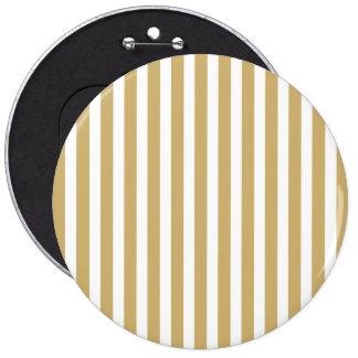 Khaki Beige and White Cabana Stripes 6 Inch Round Button