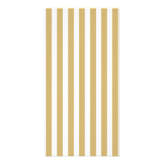 Khaki Beige and White Cabana Stripes Card