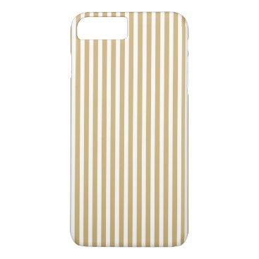 Beach Themed Khaki Beige and White Cabana Stripes iPhone 7 Plus Case