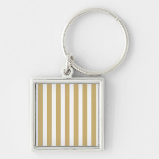 Khaki Beige and White Cabana Stripes Keychain