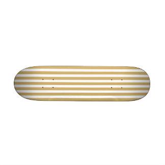 Khaki Beige and White Cabana Stripes Skate Board