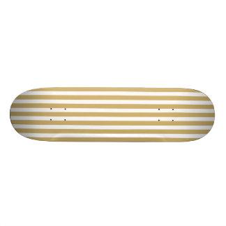 Khaki Beige and White Cabana Stripes Skateboard