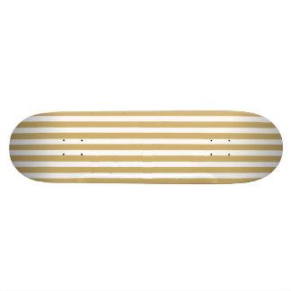 Khaki Beige and White Cabana Stripes Skate Deck