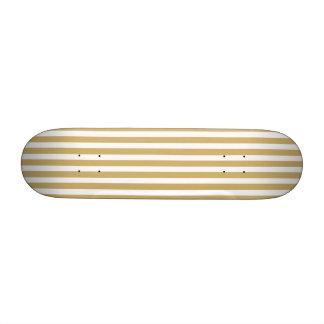 Khaki Beige and White Cabana Stripes Custom Skate Board