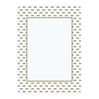 khaki Beige Dog Bones On Bright White Background 5x7 Paper Invitation Card