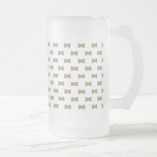 khaki Beige Dog Bones On Bright White Background Frosted Glass Beer Mug