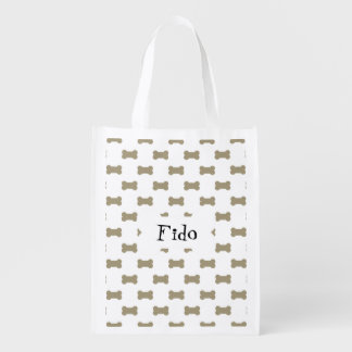 khaki Beige Dog Bones On Bright White Background Grocery Bag