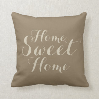 Khaki beige taupe home sweet home throw pillow