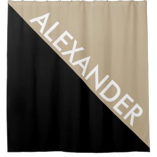 Khaki Black 2 Bold Triangles Diag Monogram Shower Curtain