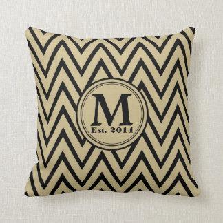 Khaki & Black Chevron Custom Monogram Pillow