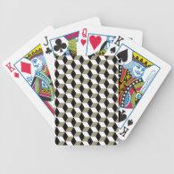 Khaki Black &amp; White 3D Cubes Pattern Bicycle Playing Cards (<em>$28.45</em>)